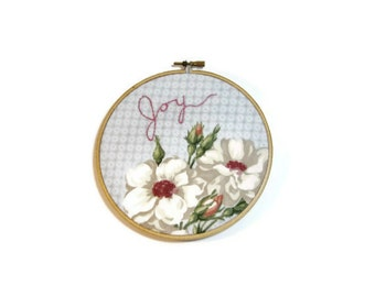 Large hoop art Joy blue with white pink roses embroidered