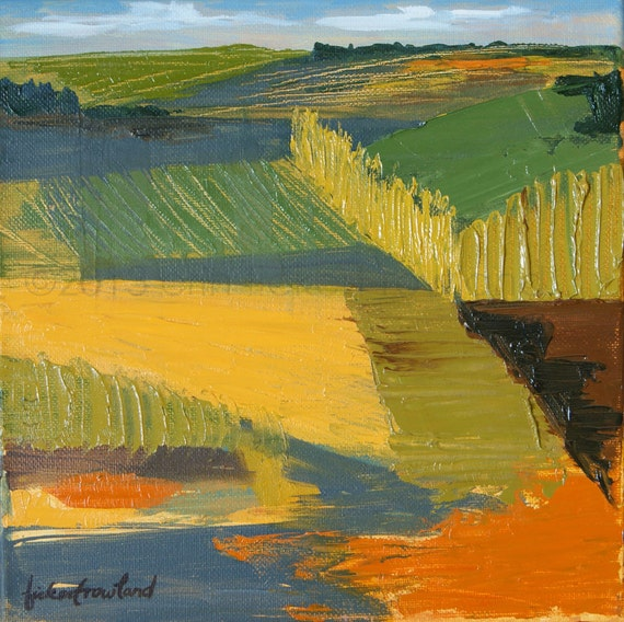 Crop Fields Modern Abstract Landscape Painting- Original Oil on Canvas by Erin Fickert-Rowland