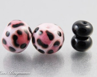 Pink Leopard Earring Pair, Animal Print Lampwork Beads with Black Spacers, SRA