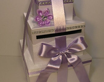 Wedding Card Box White And Lavender Gift Card Box Money Card Box - Customize your color