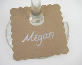 Kraft Wine Glass tags, labels, charms, Wine Glass Charms