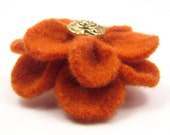 Felted Wool Flower Hair Clip, Orange and Gold - SesameSeedDesigns