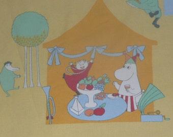Vintage Moomin fabric Millenium Happy New Year 2000 yellow Finland Moomins fabrics cotton
