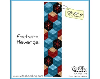 Peyote Bracelet Pattern: Escher's Revenge - INSTANT DOWNLOAD pdf - Save when you buy more