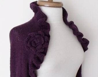 Purple Wedding Bridal Shrug long sleeves With Flower Brooches