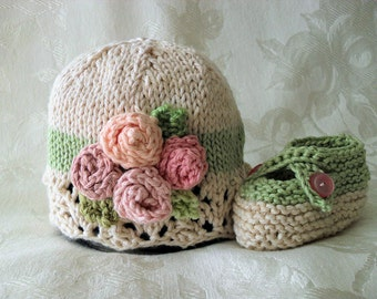 Baby Hat Knitting Knit Baby Hat Hand Knitted Baby Hat  Cotton Knitted Hat Knit Baby Hat with flowers Baby Knitted Hat with Rose