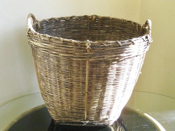 Vintage Woven Basket Planter Storage Country Farmhouse Rustic Large Storage Basket