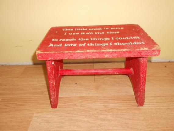Wood Stool Step Stool Retro Red Childrens Step Stool Bench