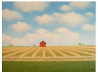 "Red BARN PRINT Barn Art Old Farm Print 8 x 10"" Blue Sky Landscape Art Farm Art print from an Original Painting Country Rural Life Art Gift"