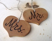 Mr. and Mrs. Wood Heart Charms - Wooden Heart Charms - Wood Burned Toasting Glass Heart Charms - Rustic for an Outdoor Barn Wedding