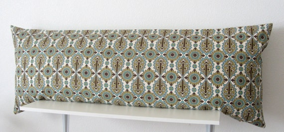 Teal And Brown Decorative Body Pillow Cover 20x54 Premier