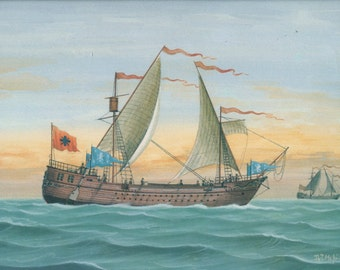 Vintage Sea Print, 1992, Pamphylia, Asia Minor, 9th Century Boat 20, Greek Sailing Ship Print, Coastal Art Greece, Nautical Art