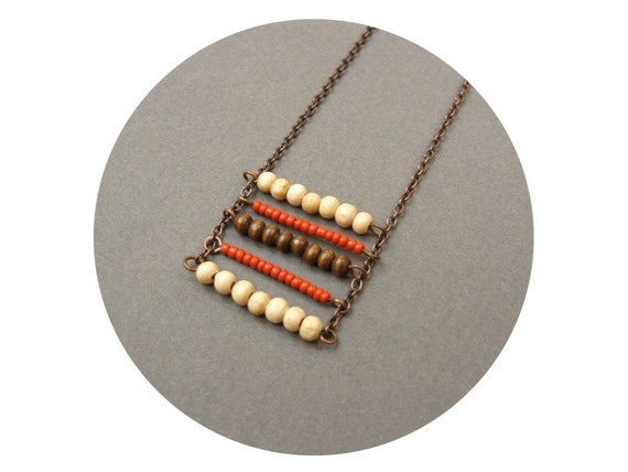 Moving Up - Bohemian Copper Chain Ladder Necklace with Wooden Beads