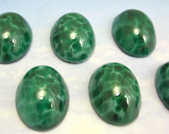 Vintage Glass Cabochons 6 pcs 18x13 mm  Speckled Jade Green Stones S-358