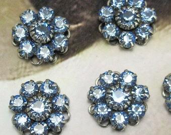 Rhinestone Bead Swarovski Blue Crystal rhinestone flower silver setting sc