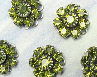 Rhinestone Bead Swarovski Olive green Crystal rhinestone flower silver setting sc