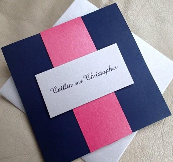 Pocket Fold Wedding Invitation: Navy Blue Event Invitation
