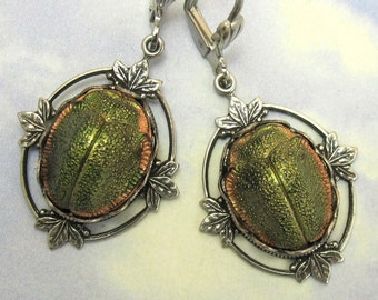Vintage Scarab Earrings Rare Glass 1920s Egyptian Revival Stones in Antique Silver