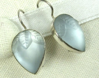 Sterling Silver Earrings Blue  Lalique Inspired Vintage Glass Flower Buds Art Deco Jewelry 362