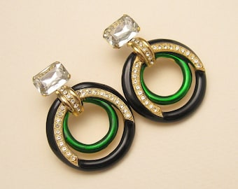 Big Glitzy Hoop Earrings Rhinestone