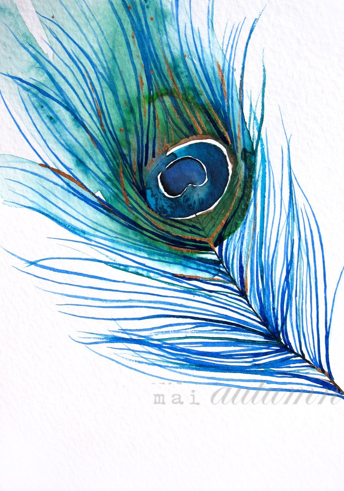 Watercolor Painting Peacock Painting Feather Bird Wall