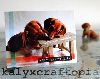 ANNIVERSARY Long and Smooth Dachshund Anniversary Card
