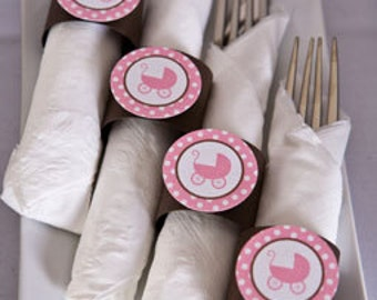 Napkin Rings - Pink Carriage Theme - It's a Girl Baby Shower Decorations in pink and brown (12)