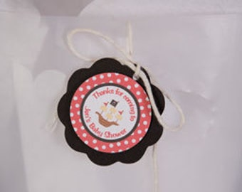 Pirate FAVOR TAGS - Pirate Baby Shower Decorations - Pirate Theme Shower Thank You Tags
