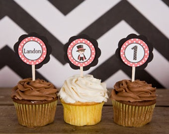 Magic Birthday Party - Magician Theme Cupcake Toppers in Red and Black (12)