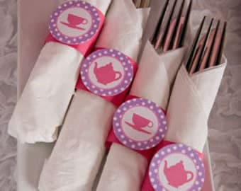 Tea Party Birthday Party - Napkin Rings - Silverware Wraps - Tea Party Decorations in Pink & Purple (12)