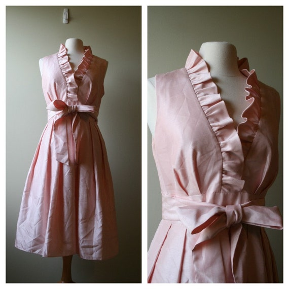 Vintage Peach/pink swing dress size S to M