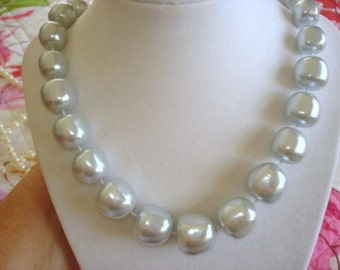 Pearl Necklace Silver Tone