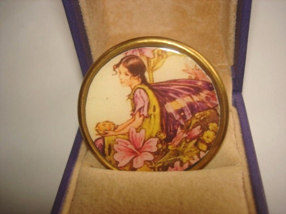 Sale Vintage Jewelry Fairy Child in the Flowers Garden Brooch KL Design