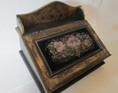 Hand Painted Stationary Box by MontanaRosePainter, Velvet insert, Quiet colors