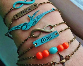Swallow Bracelet. Stacking Bracelets. Layering Bracelets. Sparrow Bracelet. Trendy Bracelets. Bestfriend Bracelet.