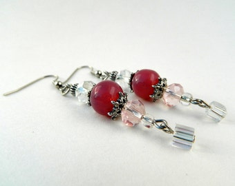 Pink Glass and Crystal Dangle Fashion Earrings
