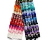 Seed Bead Bracelet, Peyote Stitch, Delica, Rainbow, Colorful, Bright, Fun, Primary, Purple, Blue, Green, Brown, yellow, Orange, Red, Fuchsia