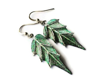 "Leaf Earrings, Metal, Dipped, Sparkle, Glitter, 2"", Metal, Pewter, Glazed, Green, Evergreen, Emerald, Silver, Fall, Autumn, Painted, Arrow"
