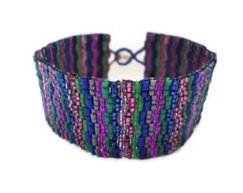 Seed Bead Bracelet, Peyote Stitch, Delica, Colorful, Bright, Fun, Purple, Blue, Green, Fuchsia, Grey, Gray, Tiny, Wide, Hot Pink, Emerald