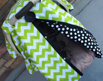 Car seat canopy lime green chevron stripe and black / car seat cover / nursing cover / carseat canopy / carseat cover