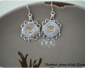 fancy lady original silver repurposed shotgun shell swarovski crystal filigree earrings crystals or not