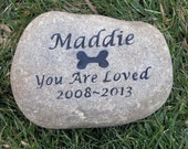 PERSONALIZED Dog Stone Memorial Stone Gravestone Markers 8 - 9 inches wide Memorial Burial Headstone Marker