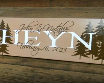 "Cutom Vinyl Wood Sign - Family Name - Great Custom Wedding Present ""HEYN Sign"""