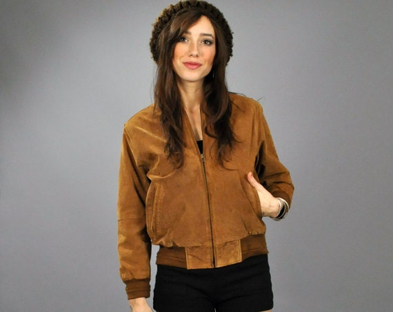 Vtg 1980's SUEDE Tan Leather BOMBER Jacket Coat Petite xs XXS