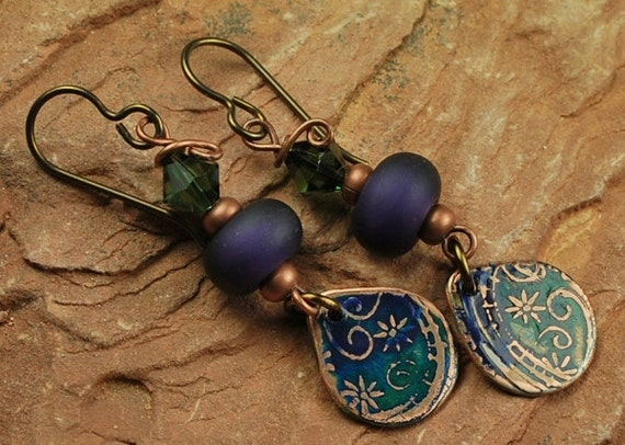 Etched Metal, Lampwork Beaded Earrings, Purple Green Flower E502