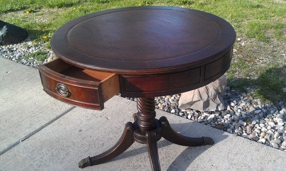 Antique Round Mahogany Drum Table 1930s RESERVED For ERIN