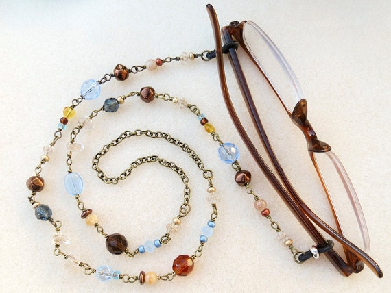 Eyeglass Frame Jewelry : Eyeglass Chain Necklace in Blue Gold Bronze Beads by ...