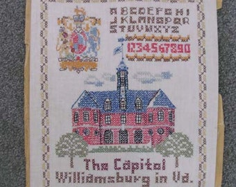 Vintage Embroidery Cross Stitch Needle work Sampler Capitol Williamsburg Virginia Crest 50-60s