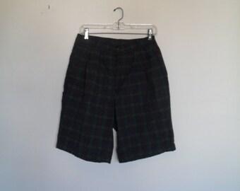 vintage 80s gap high waist pleated checked print shorts