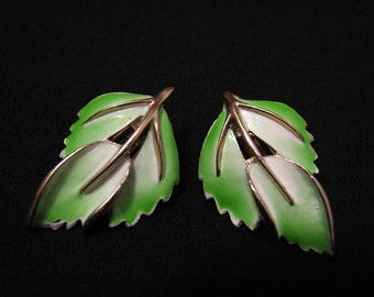 Vintage Gold Tone White and Green Enameled Leaf Clip Earrings